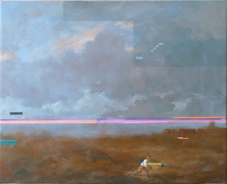 Sean Molloy The boule player Oil, ink & fluorescent pigment on canvas 25 x 30 cm