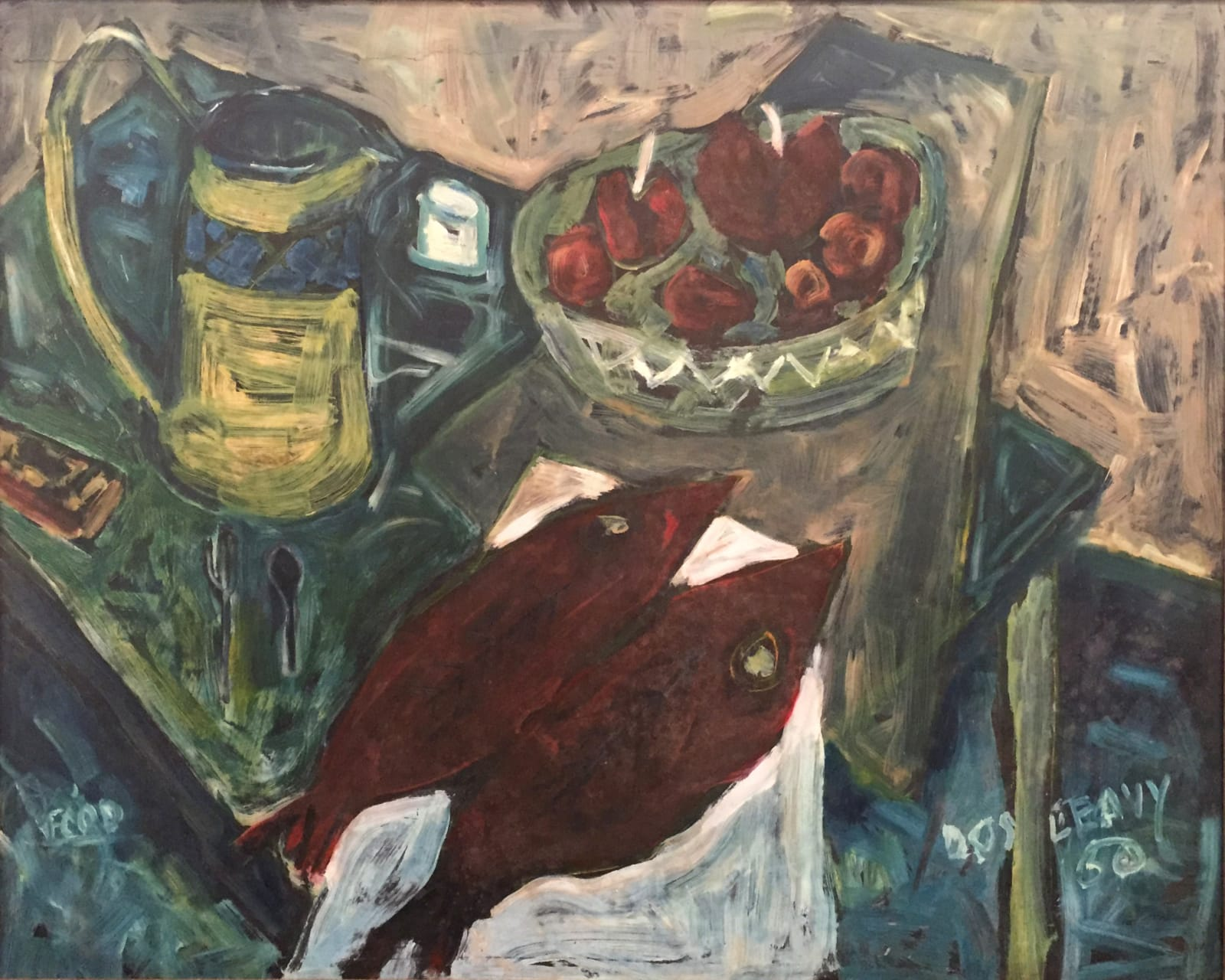 JP Donleavy  Another survival feast (dated 1950)  Oil on board  75 x 95 cm