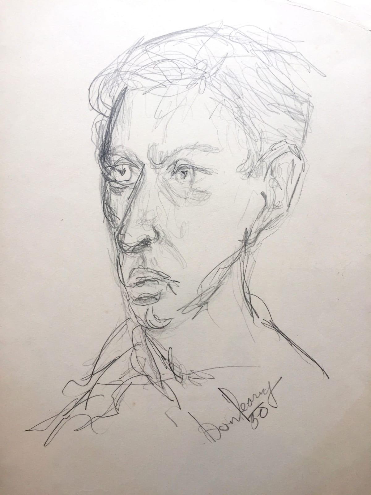 JP Donleavy  Self-portrait (dated 1950)  Pencil on paper  52 x 42 cm