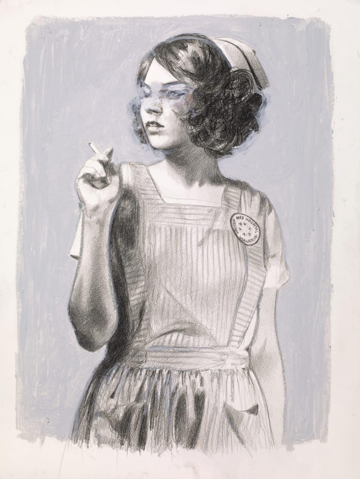 Mercedes Helnwein Candy striper smoking Pencil & oil pastel on paper 24 x 18