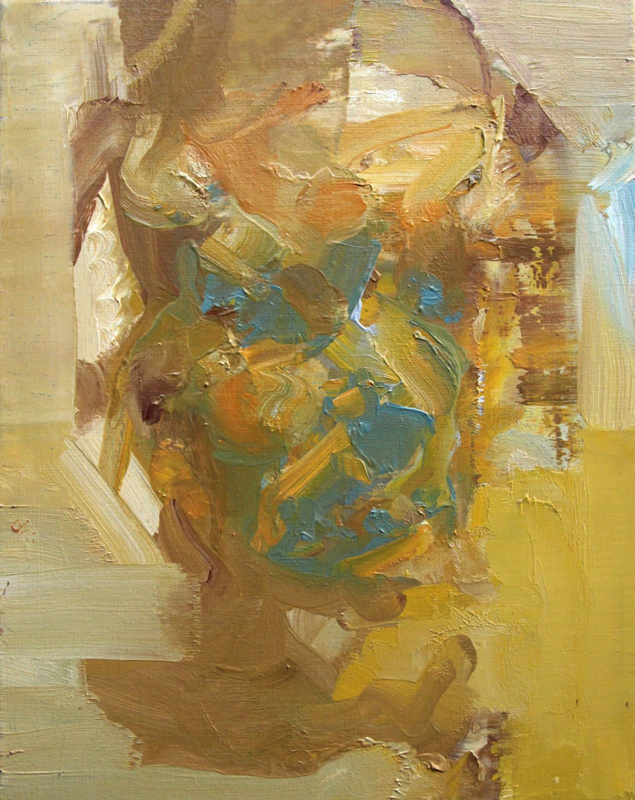 Cian McLoughlin Tronie - Yellow and Blue Head Oil on canvas 14 x 11 inches