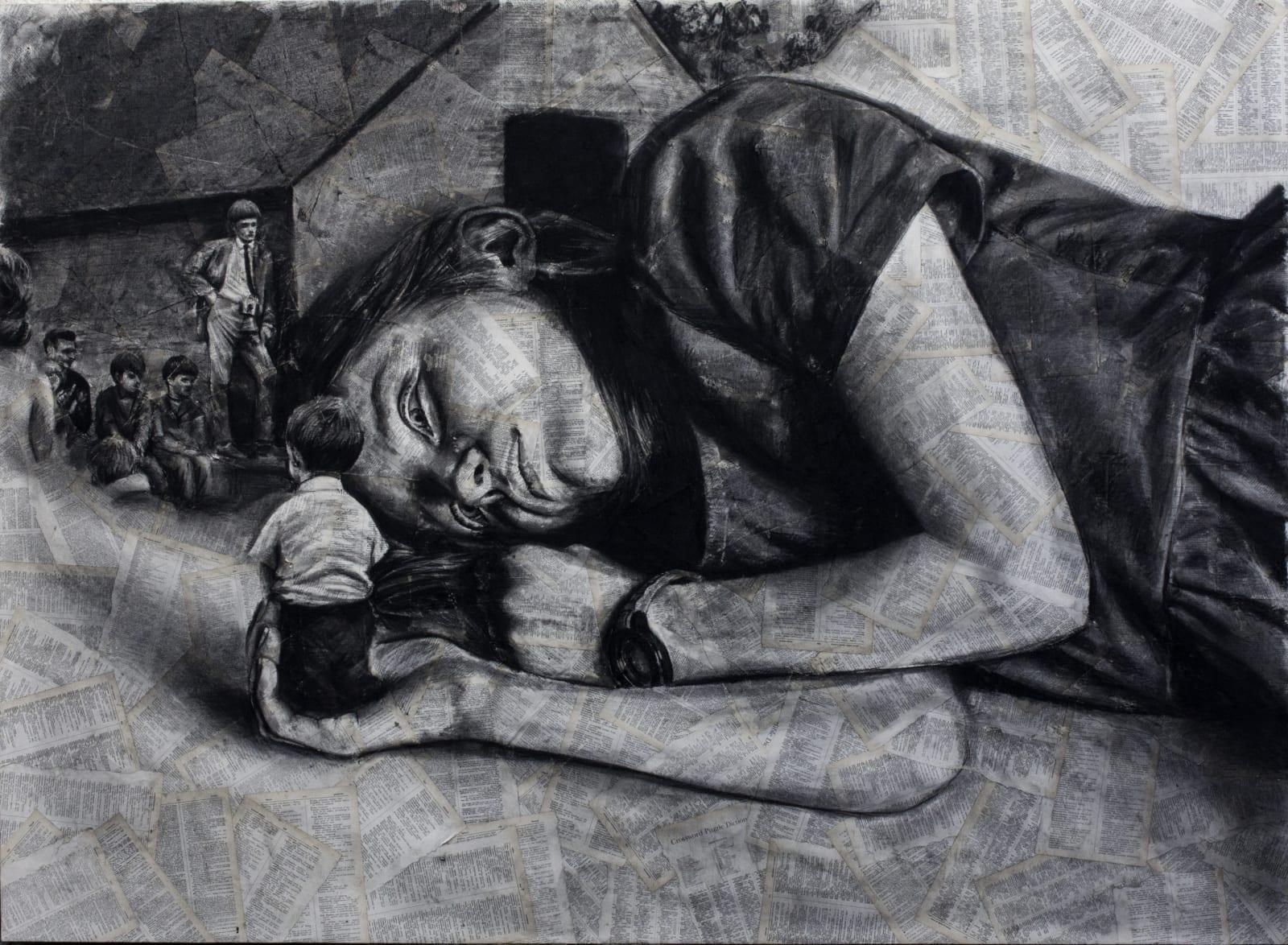 Patrick Redmond Facemaker Soot on assembled paper 120 x 165 cm