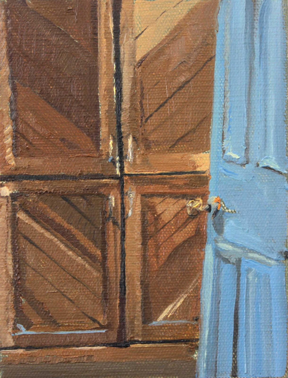 Mollie Douthit Bedroom placemats Oil on canvas panel 18 x 13 cm