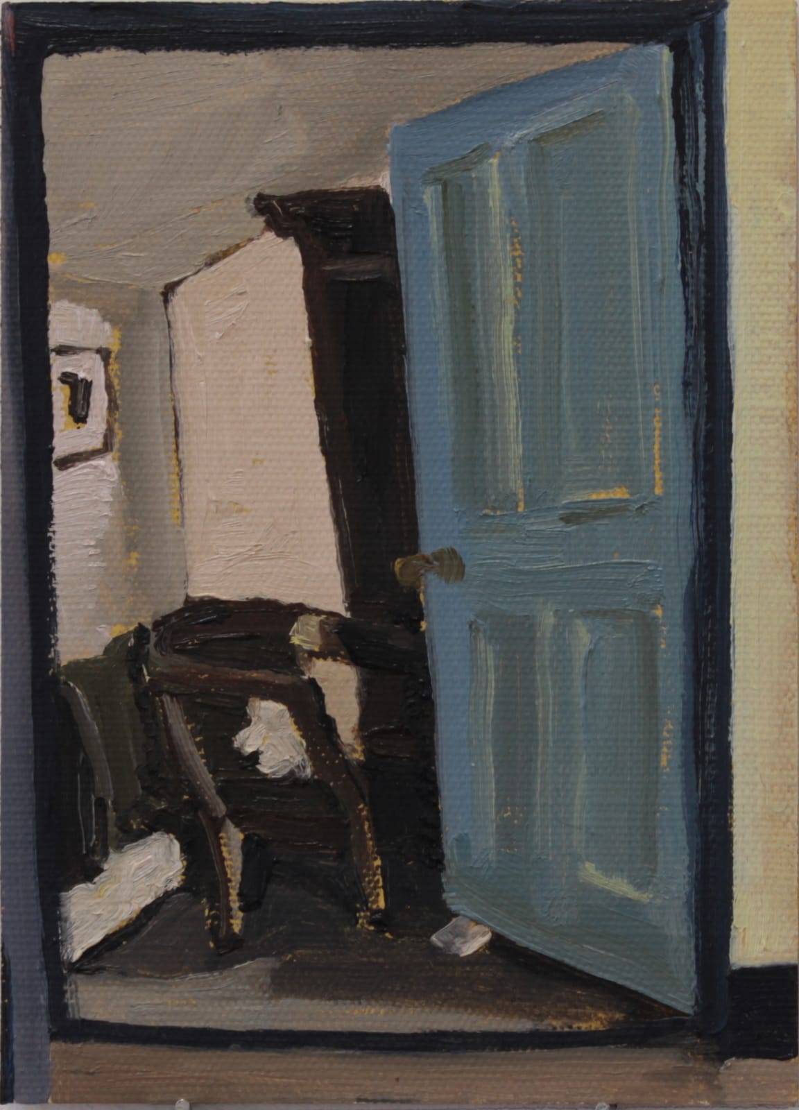 Mollie Douthit F & G in the bathroom Oil on canvas panel 18 x 13 cm