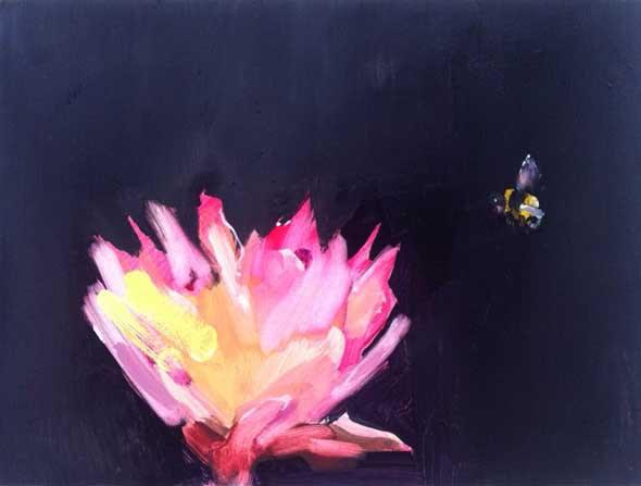 Gabhann Dunne The flower's pilgrim, oil on gesso panel, 15 x 20cm