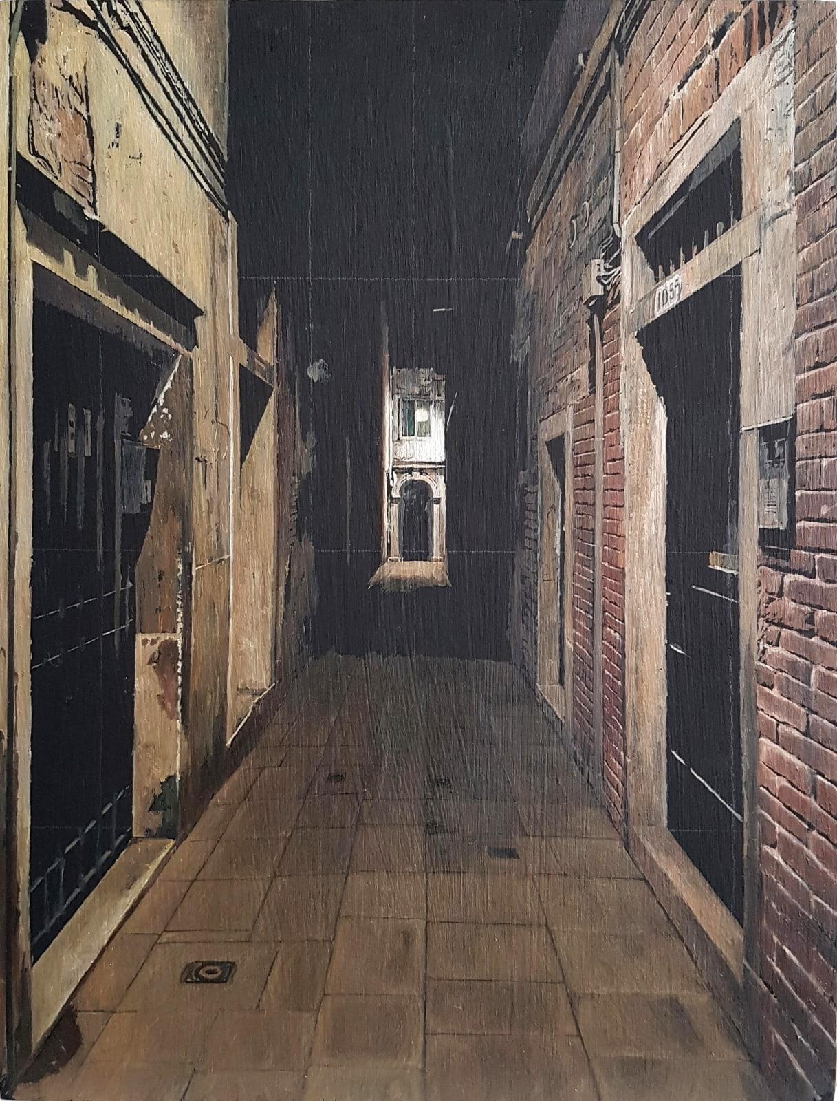 Francis Matthews, Sestiere Castello 1, oil on board, 30 x 20 cm