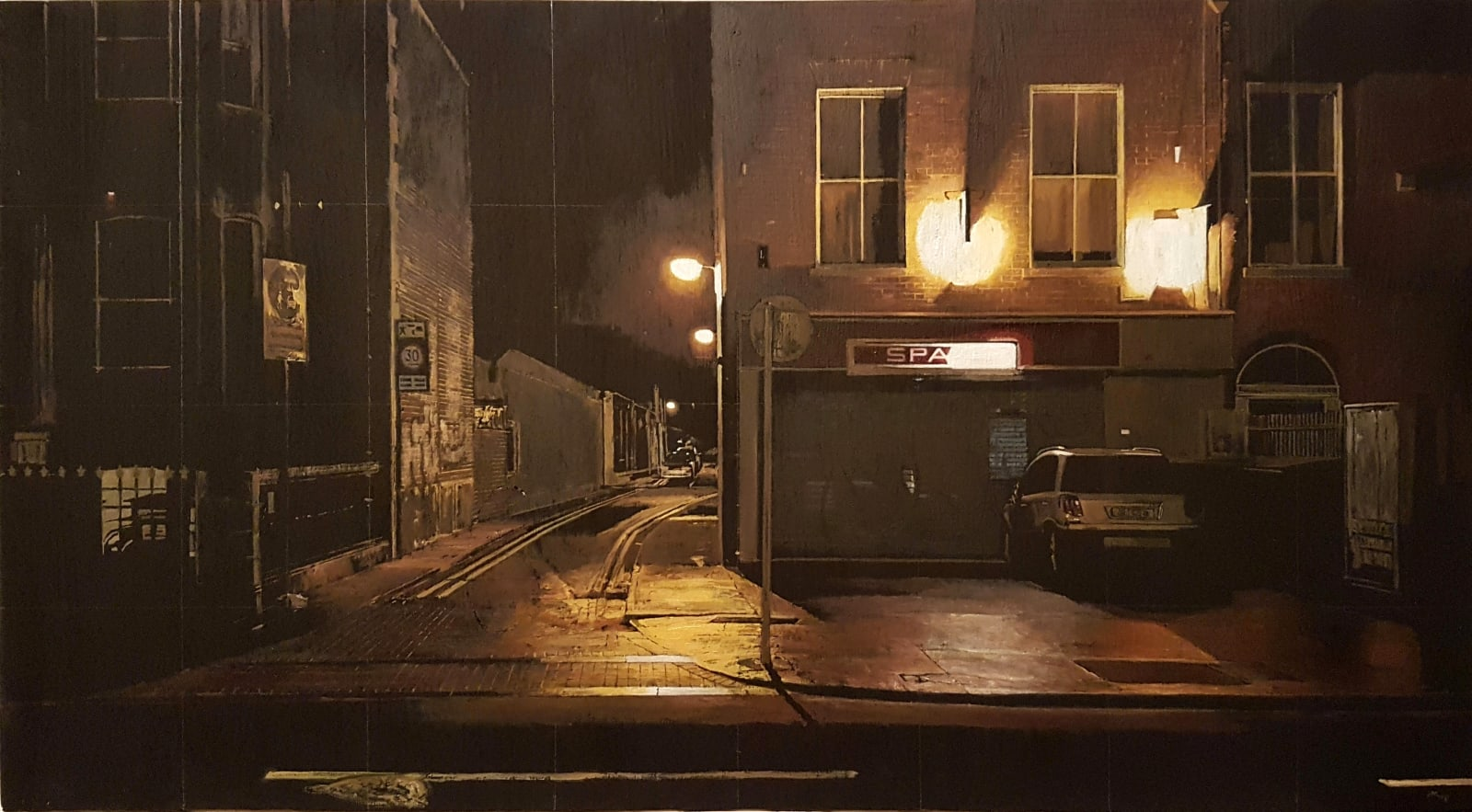 Francis Matthews,  South Circular,  oil on board,  33.5 x 62 cm