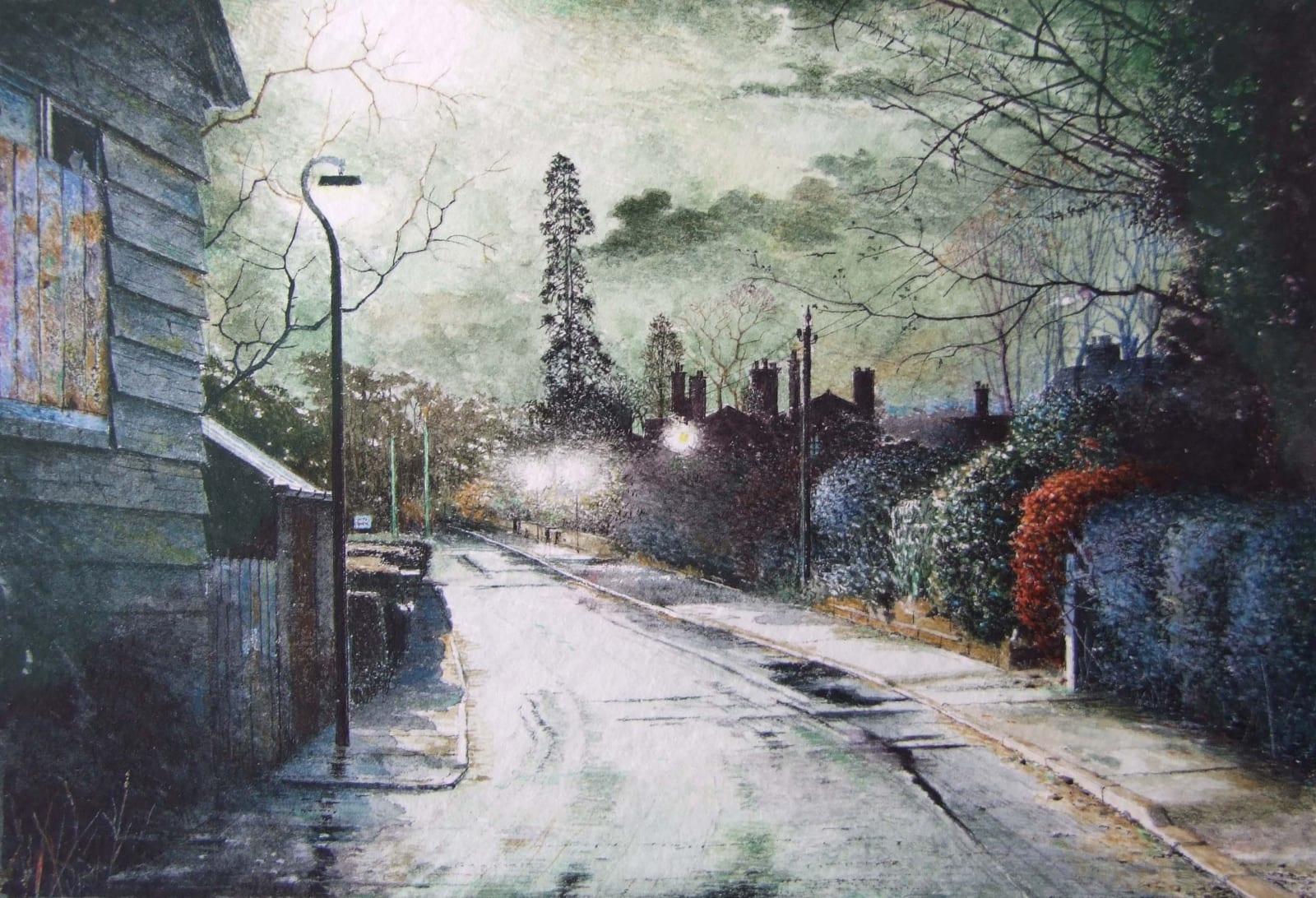 Robert Bates Night scene - Dublin (2007) Watercolour 10.2 x 15 cm