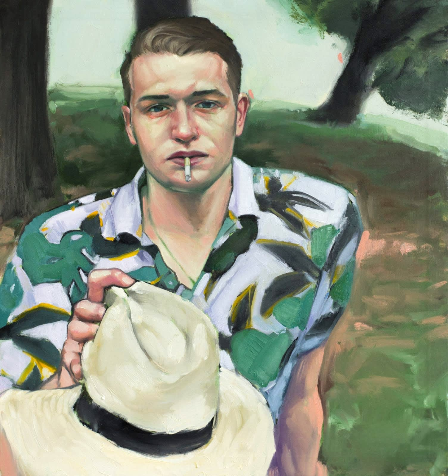 Shane Berkery Study for a winning portrait Oil on canvas 42 x 42 cm
