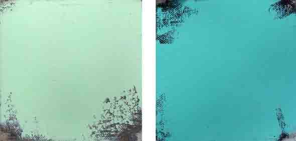 Bridget O'Rourke Green blue-green Oil on canvas, diptych Each 10 x 10 cm