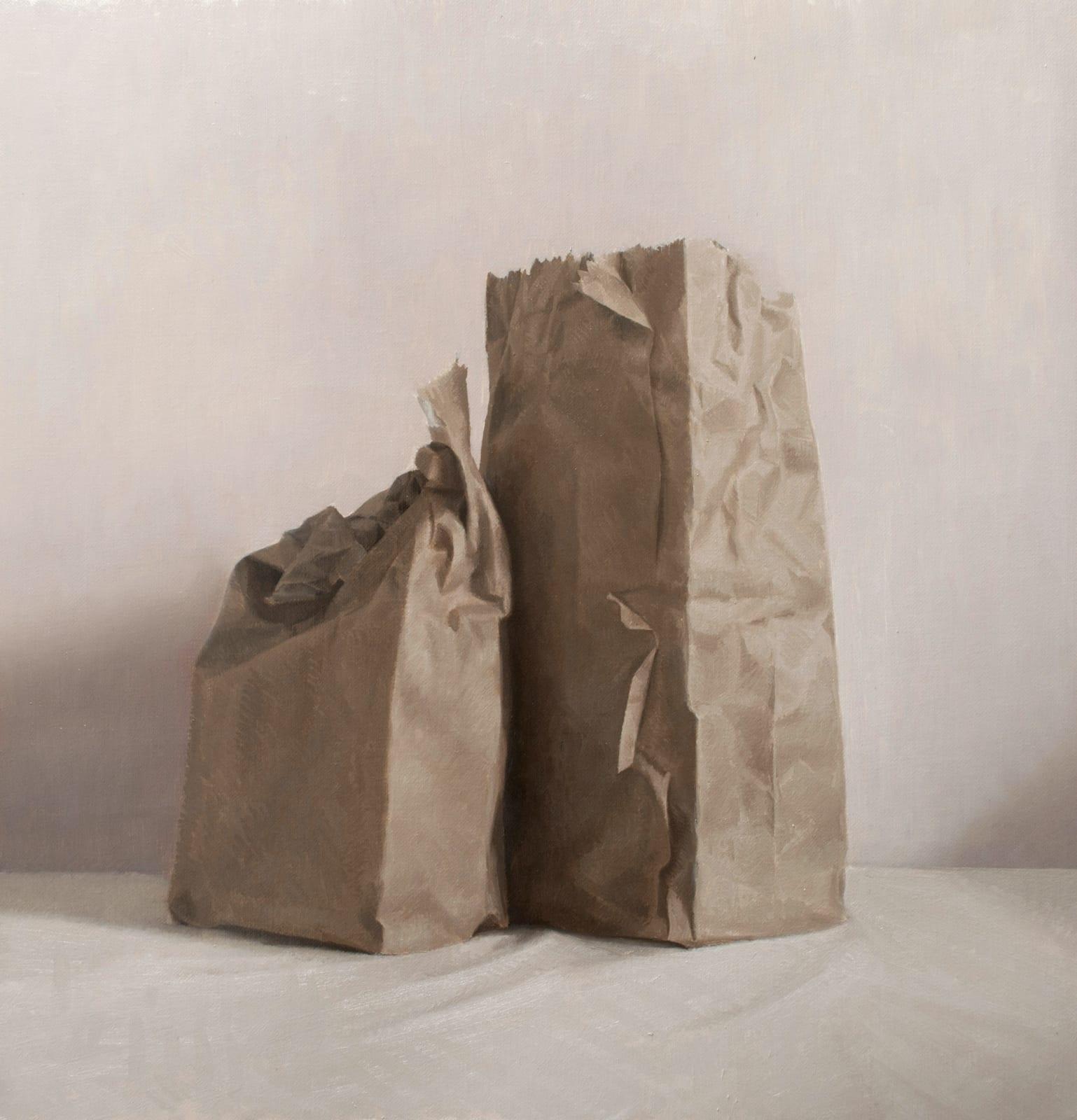 Martin Redmond Two bags Oil on linen 45 x 40 cm