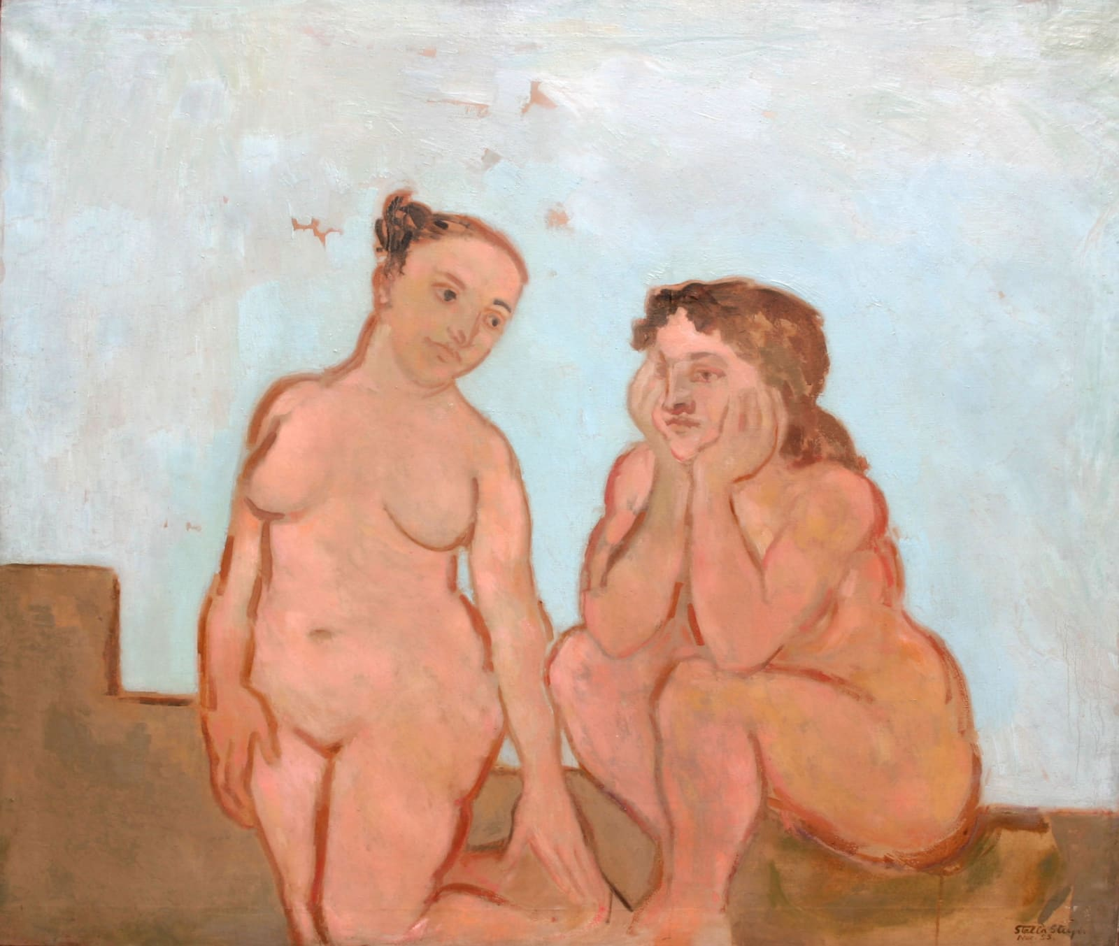 Women in conversation Exhibited at The Royal Academy, London, 1953; label verso Signed and dated 1953; signed and inscribed with title verso Oil on canvas 42 x 50 inches