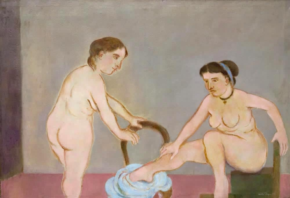 Models at the Grande Chaumière Exhibited at the Tate Gallery, London, in 1953 as part of the Contemporary Art Society's Figures in their setting exhibition Signed and dated '53, signed dated and inscribed with title verso Oil on canvas 42 x 61 inches