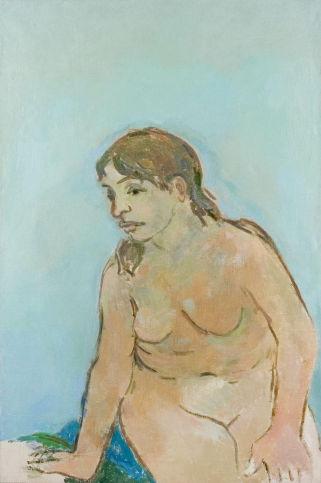 Seated nude Dated verso Oil on canvas 36 x 29 inches