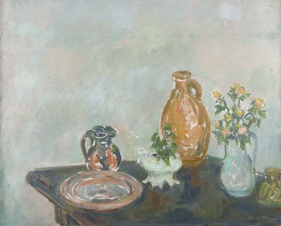 Still life with ranunculus Signed Oil on canvas 29 1/4 x 36 inches