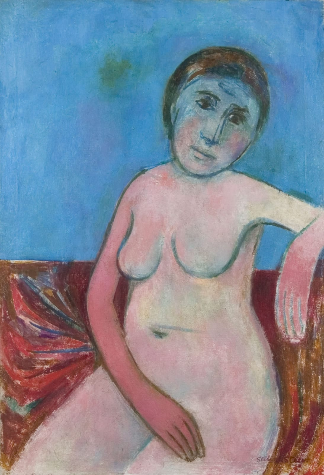 Portrait in blue Signed, dated Dec' 1948 verso Oil on canvas 28 3/4 x 19 3/4 inches