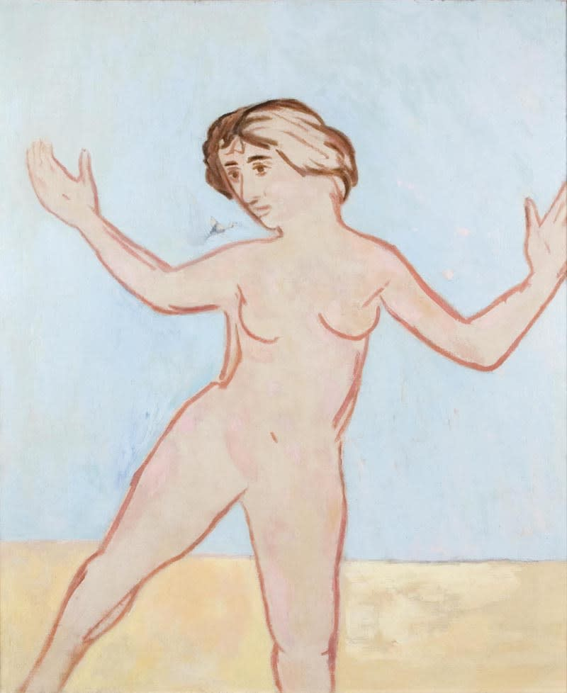 Dancing nude Dated Jan '53 verso Oil on canvas 36 x 30 inches