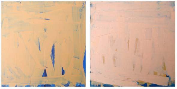Bridget O'Rourke Skin orange & pink Oil on birch 26 x 51cm