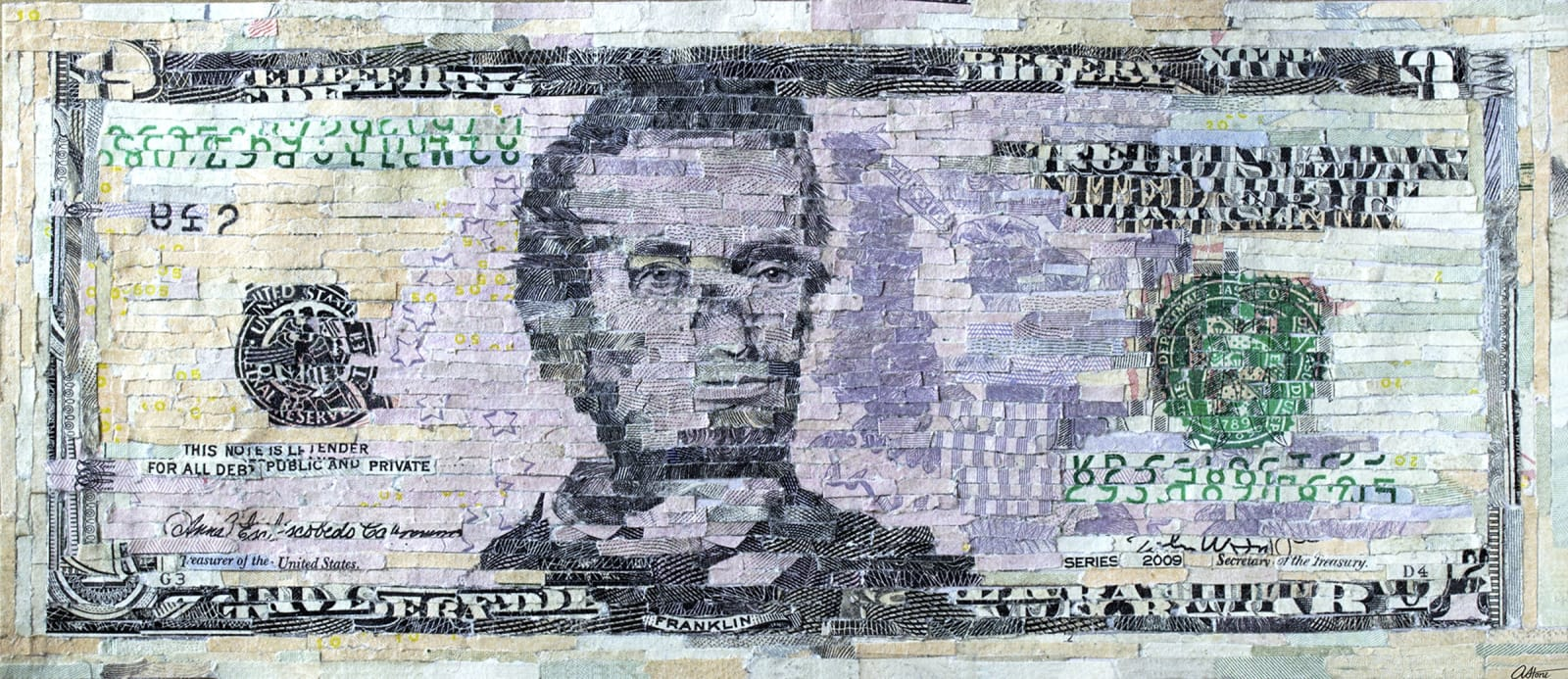 """Aleksandra Stone All-in-One Bill, 2020 Shredded US Currency on Paper 6.14 x 2.6 inches Mounted on a 24"""" x 17.5"""" x .75"""" window screen"""