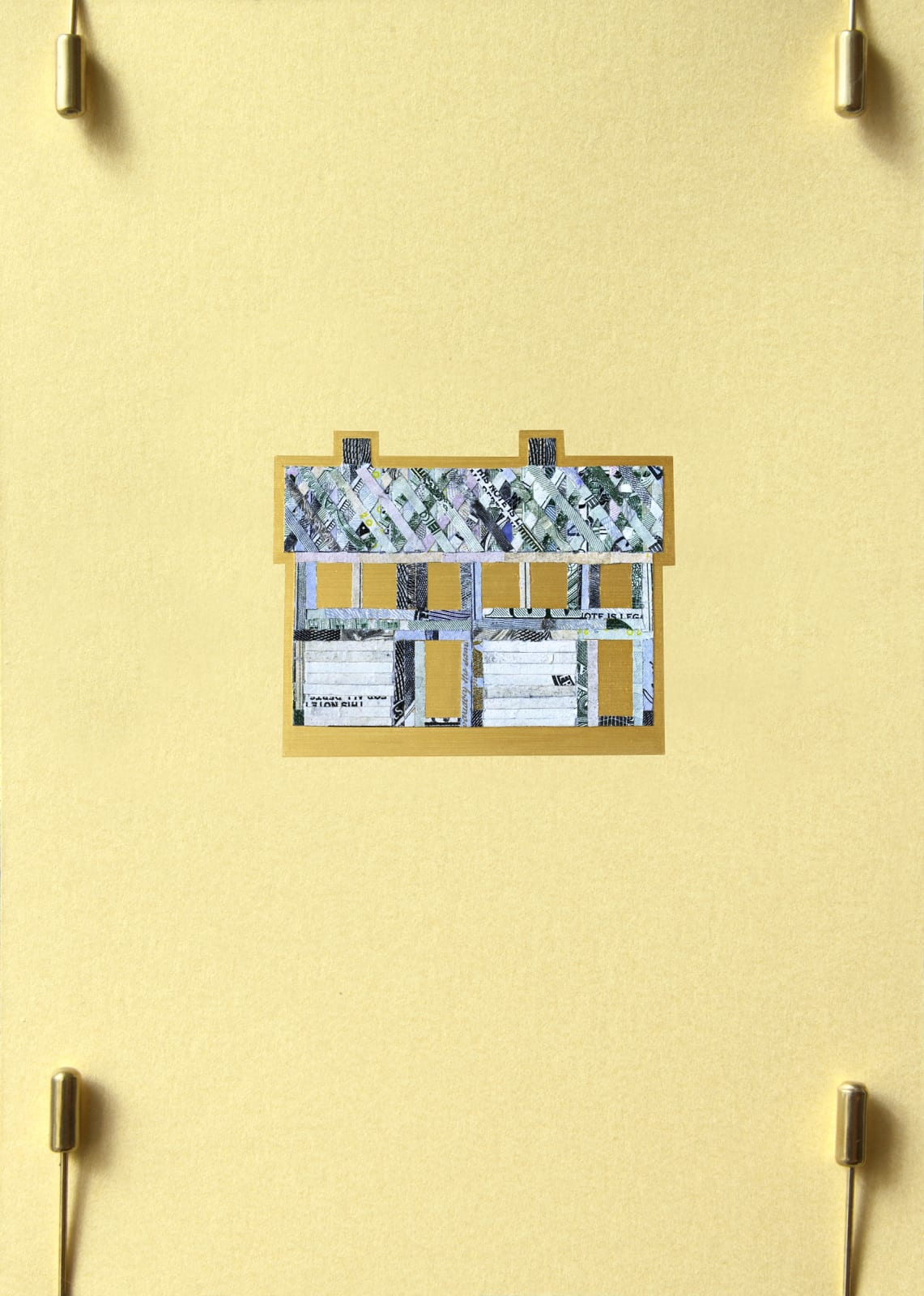 "Aleksandra Stone Duplex, 2020 Shredded US Currency on Paper 4.5 x 6.25 inches Mounted on a 21"" x 15"" x.75"" window screen"