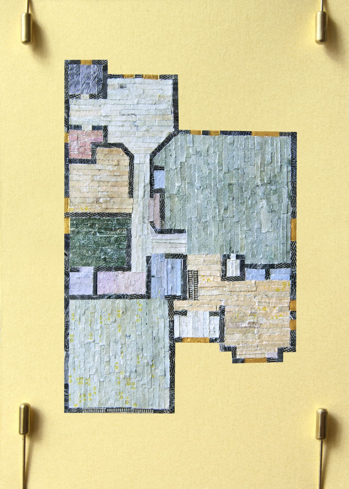 """Aleksandra Stone Floor Plan, 2020 Shredded US Currency on Paper 4.5 x 6.25 inches Mounted on a 10"""" x 15"""" x .75"""" window screen"""