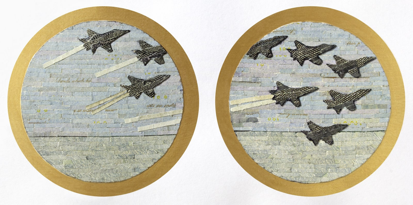 """Aleksandra Stone Flyover, 2020 Shredded US Currency on Paper 4 x 10 inches Mounted on a 15"""" x 21"""" x.75"""" window screen"""
