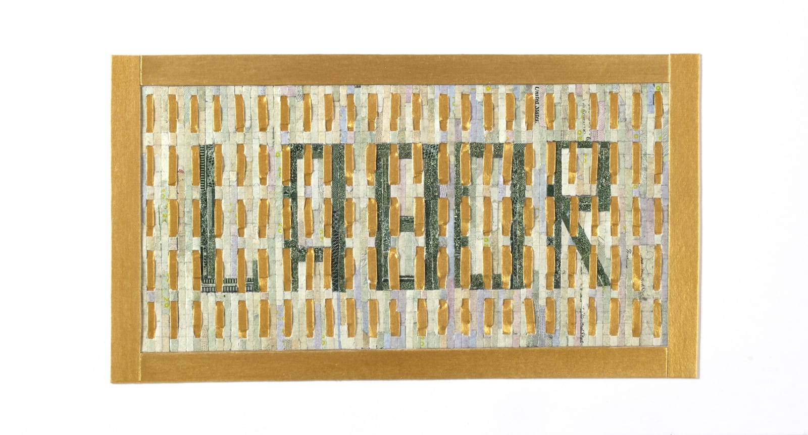 """Aleksandra Stone Labor, 2020 Shredded US Currency on Paper 4 x 10 inches Mounted on a 10"""" x 25"""" x.75"""" window screen"""