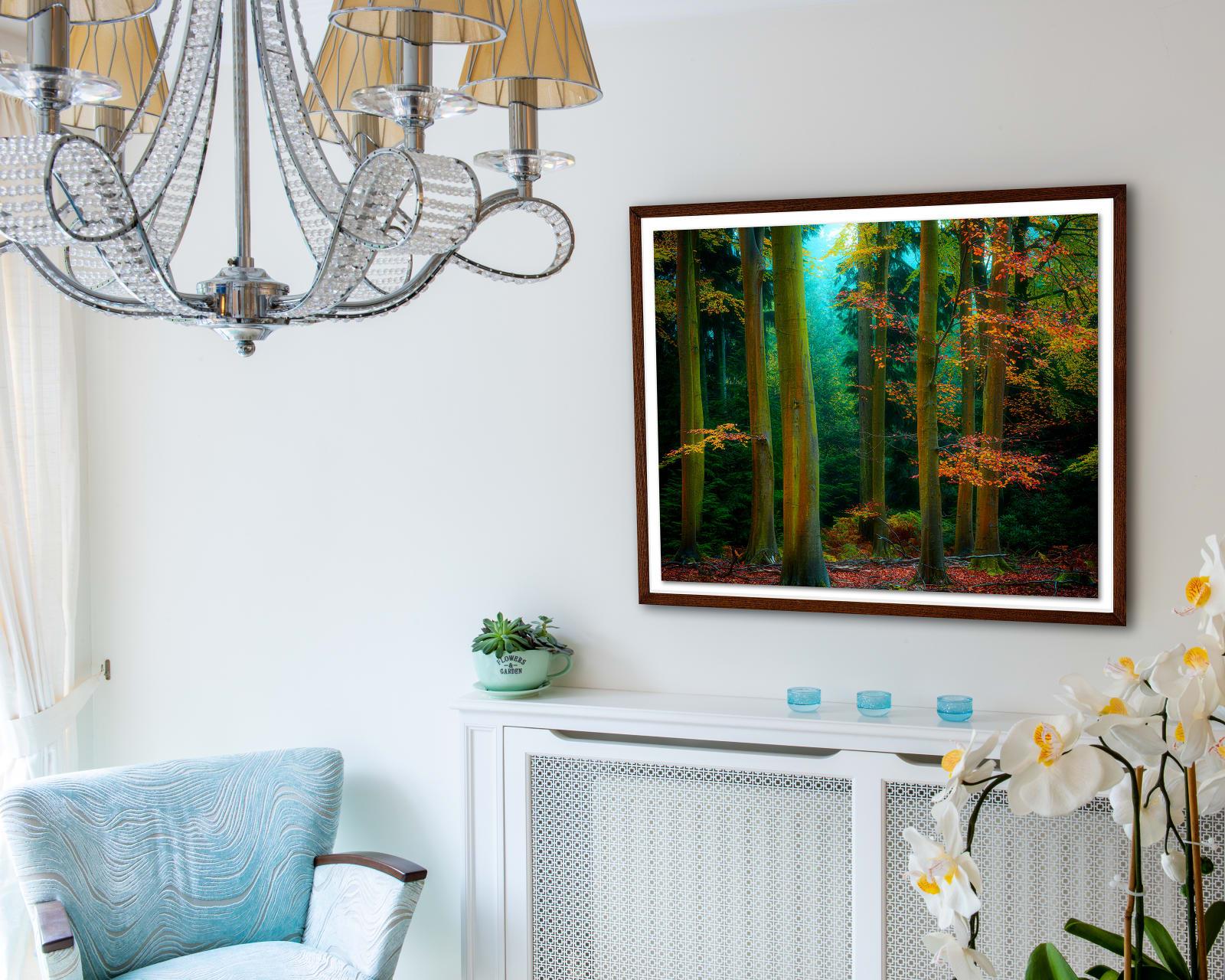 Float mounted fine art print in a walnut frame behind fine art anti-reflective glass
