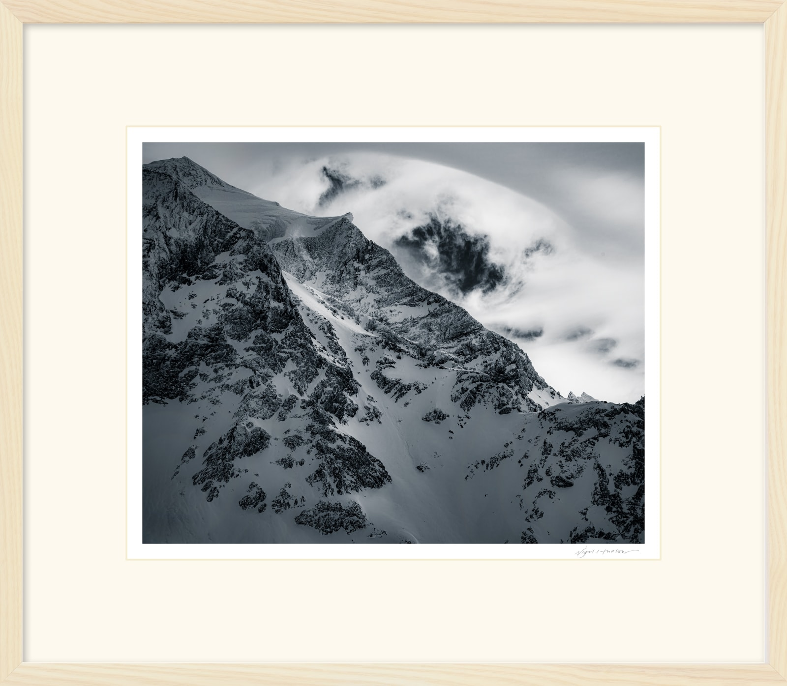 'RIDGE LIGHT' Archival Pigment Print on Platinum Etching Fine Art Paper. Framed in an Limed Ash Cushion Frame and protected with crystal clear Water White Glass. Available in an edition of 3 in three sizes. Prices from £245.00 including first class courier delivery within five working days.
