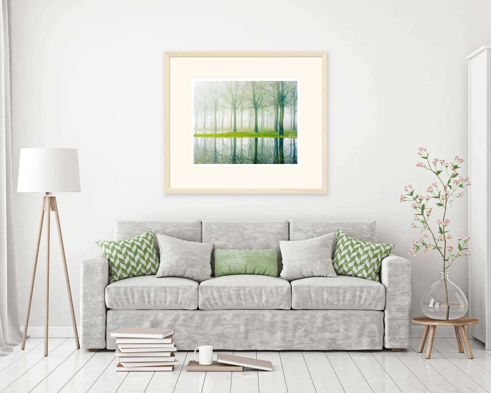 Traditional window mounted fine art print framed in limed ash behind white water glass