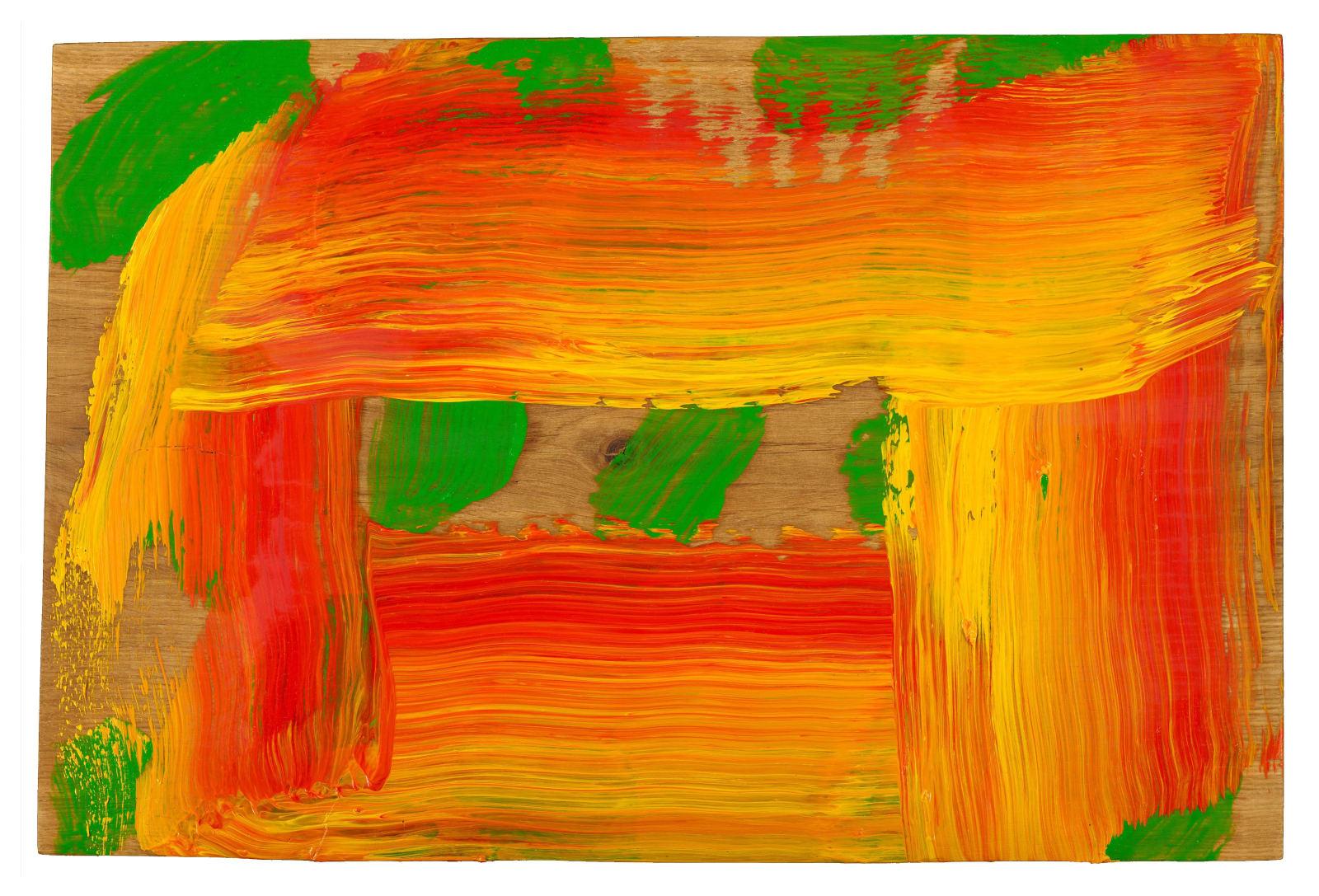 Howard Hodgkin 1932-2017 Through a Glass Darkly, 2015-16 oil on wood 10 7/8 x 16 1/4 inches / 27.5 x 41.3 cm