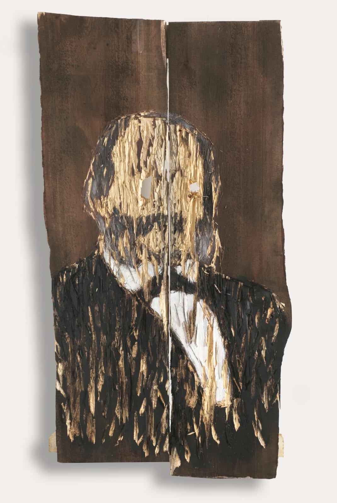 Nestor Engelke Wooden portrait of Ivan Goncharov from the series