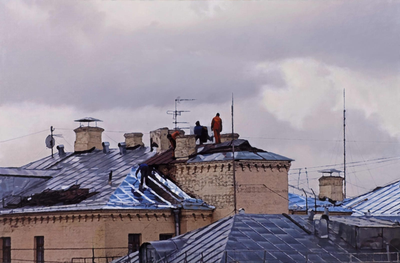 Semyon Faibisovich Roofers from the cycle MY YARD, 2012