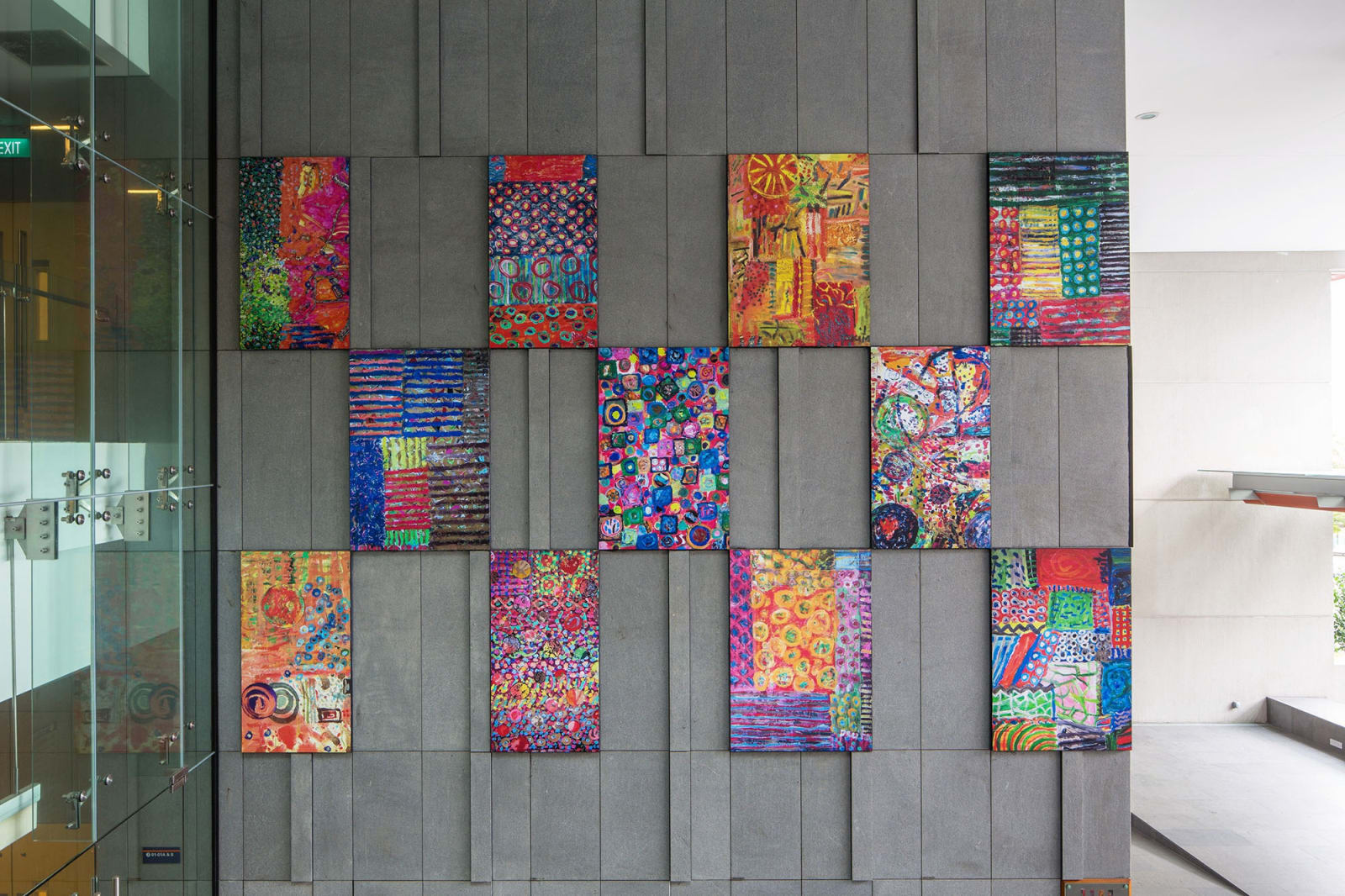 Permanent Installation of Pacita's Colorful Abstract Painting Reproductions   Singapore's Yong Loo Lin School of Medicin