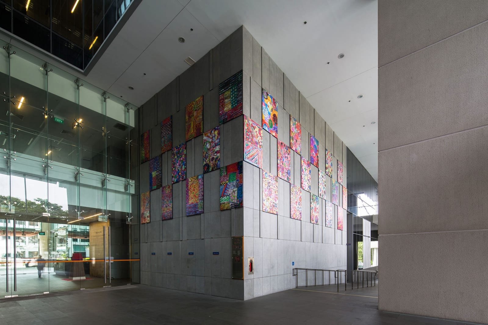 Permanent Installation of Pacita's Colorful Abstract Painting Reproductions | Singapore's Yong Loo Lin School of Medicin