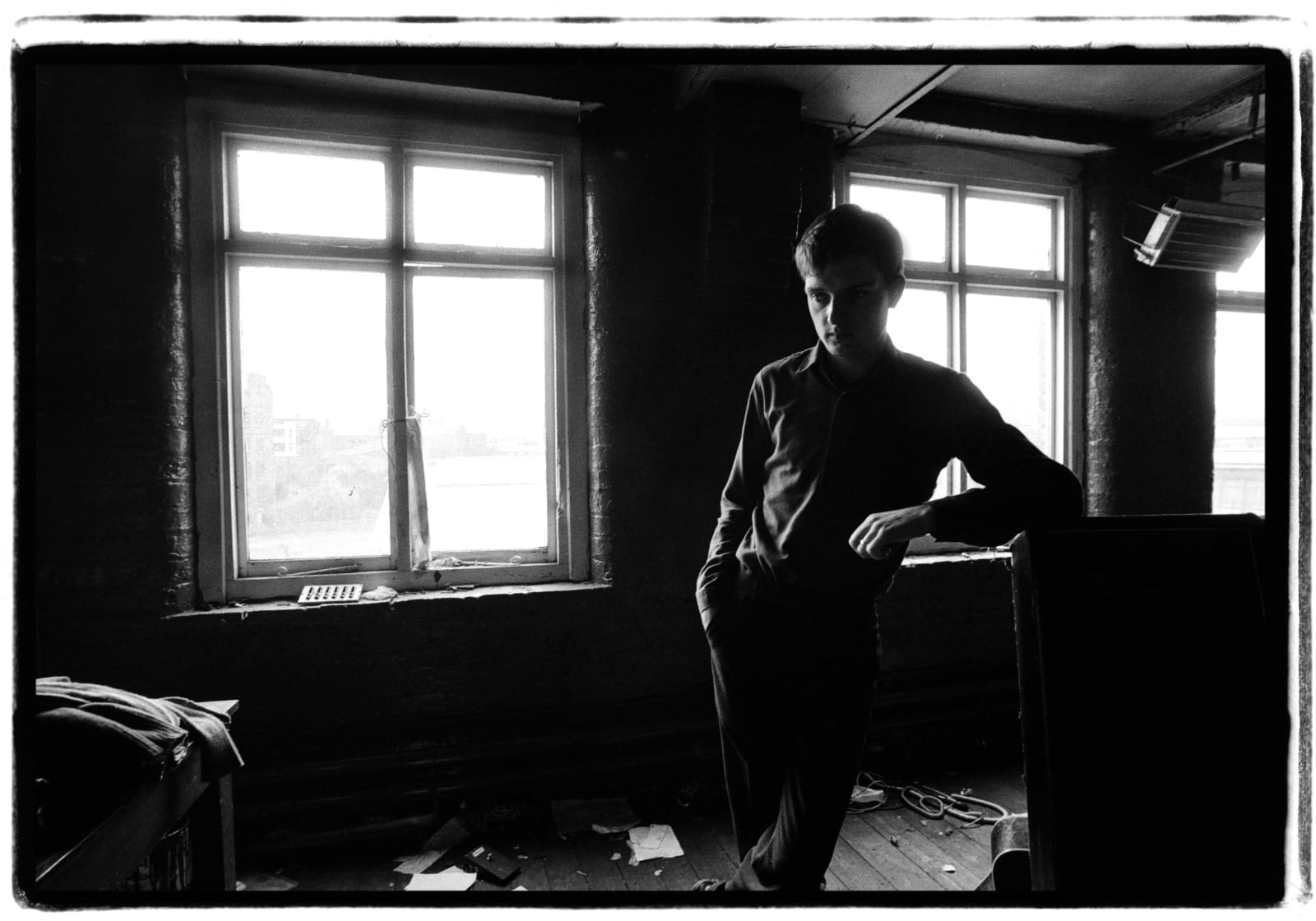 Kevin Cummins 2.Ian Curtis, Joy Division. TJ Davidson rehearsal room, Little Peter Street, Manchester, 19 August 1979., 2006 Gelatin silver print. Edition of 75 40.6 x 50.8 cm 16 x 20 in Edition of 75
