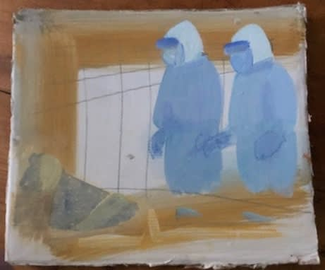Blue Doctors recto/verso acrylic on cardboard, 2020