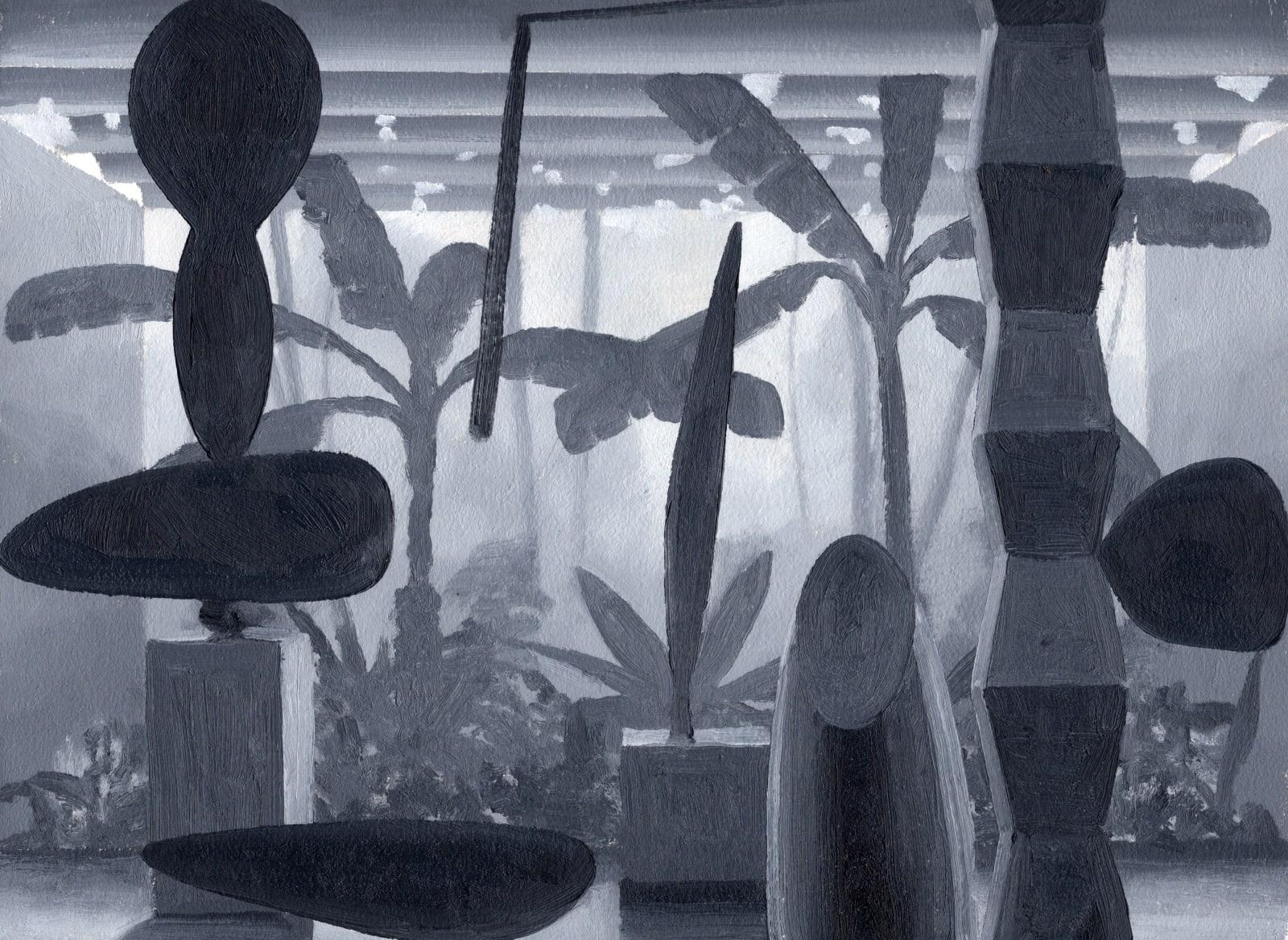 Daniel Dove Atrium #3 (Study), 2020 Oil on paper, unframed 12 1/4 x 16 1/8 in 31.1 x 41 cm