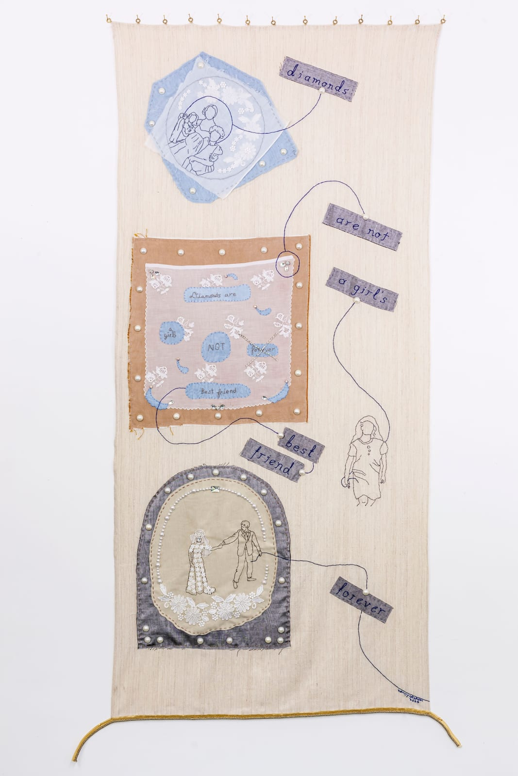 Challenging Cliché 1 (Diamonds), 92 x 202 cm, cloth, needlework, fake jewels lace