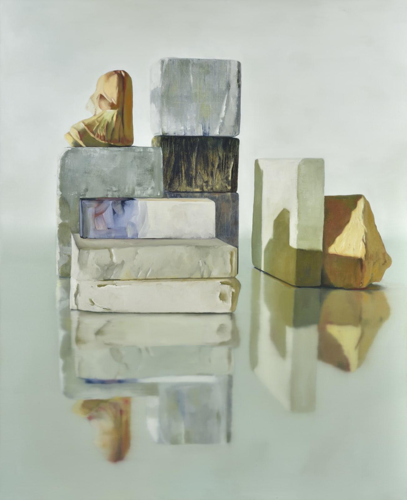 Maude Maris Blocks 2017 oil on canvas 160.0 x 130.0 x 2.0 cm