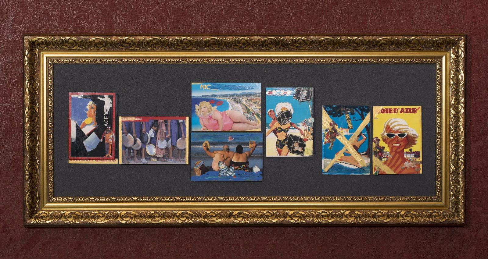 Pleasure 2020 postcards and mixed media 93 x 40 cm
