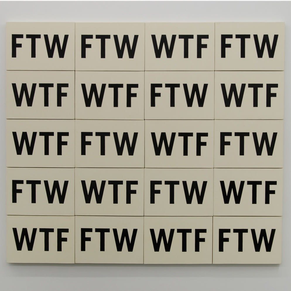 WTFFWT, 2015, acyrlic and clear gesso on coton, 20 pieces, 160 x 185 cm