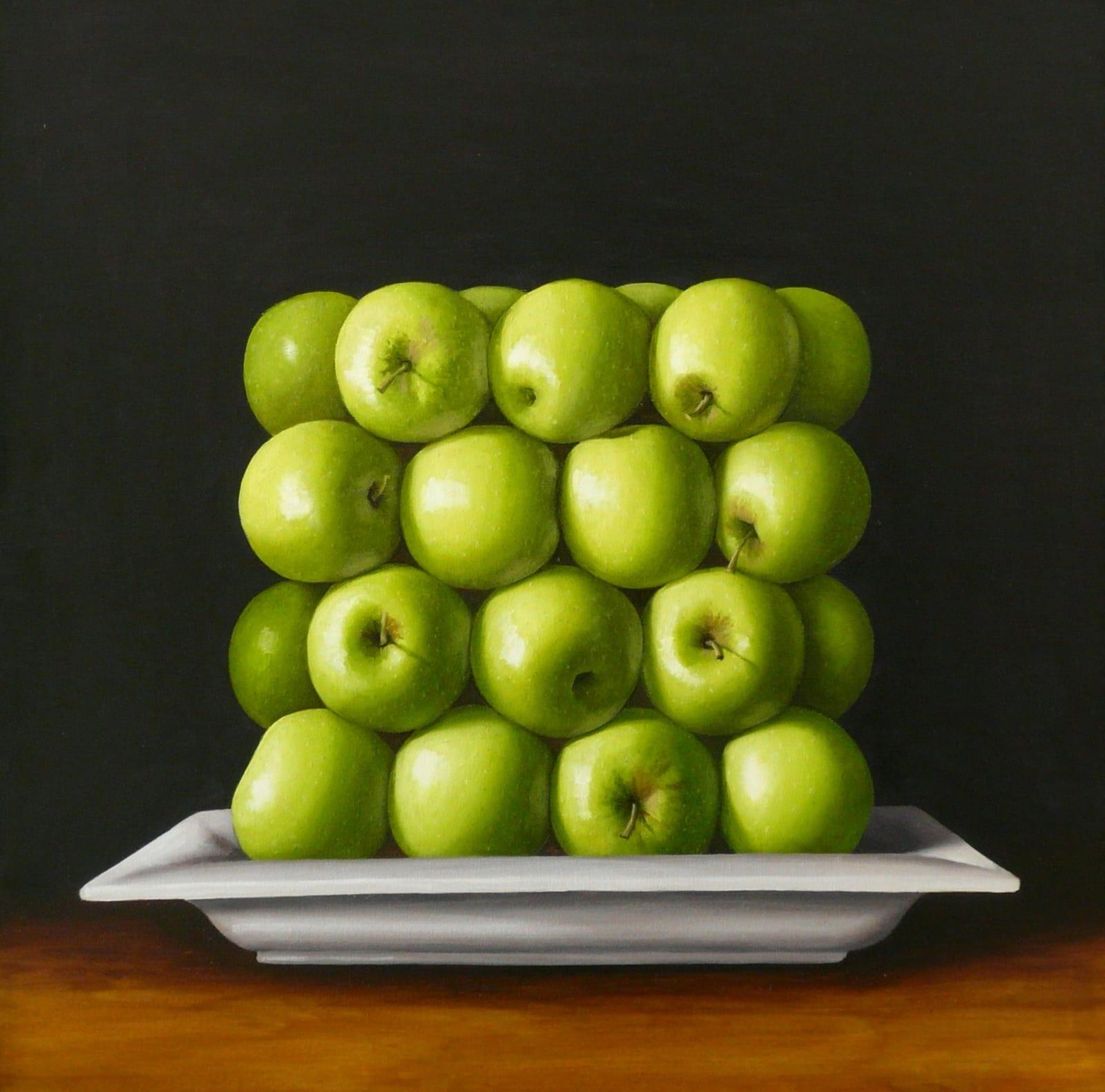 Antonia Williams Green Square Apples Oil on canvas 76 x 76 cm