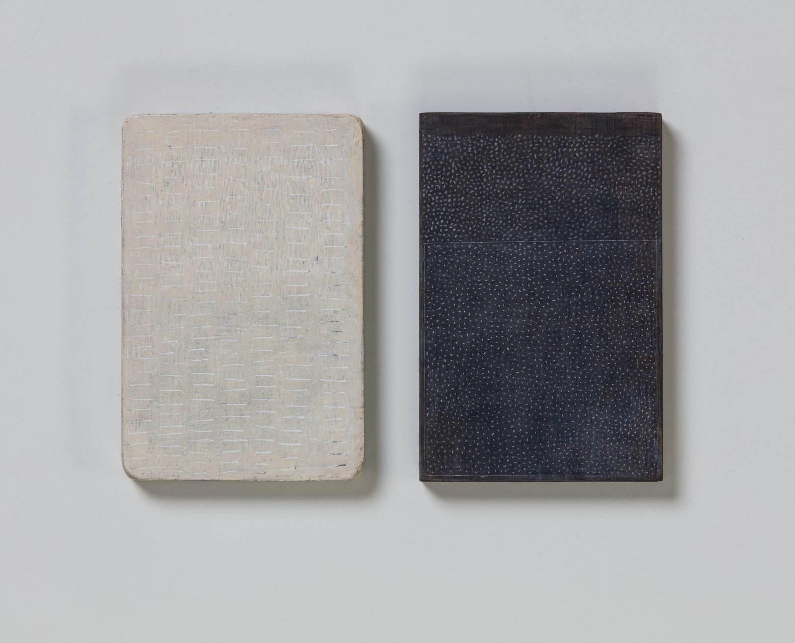 Nos. 7 & 8, from flume series, 2020 oils on paper on wood 20.5 x 13.5 cm / 8 x 5.3 in each