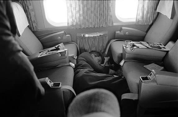 Lawrence Schiller, Robert F. Kennedy asleep on Plane during his last campaign, 1968