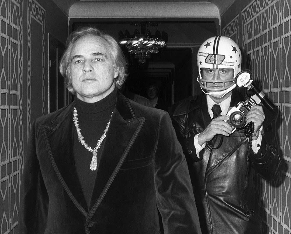 Ron Galella, Marlon Brando & Galella with Helmet, New York, 1974