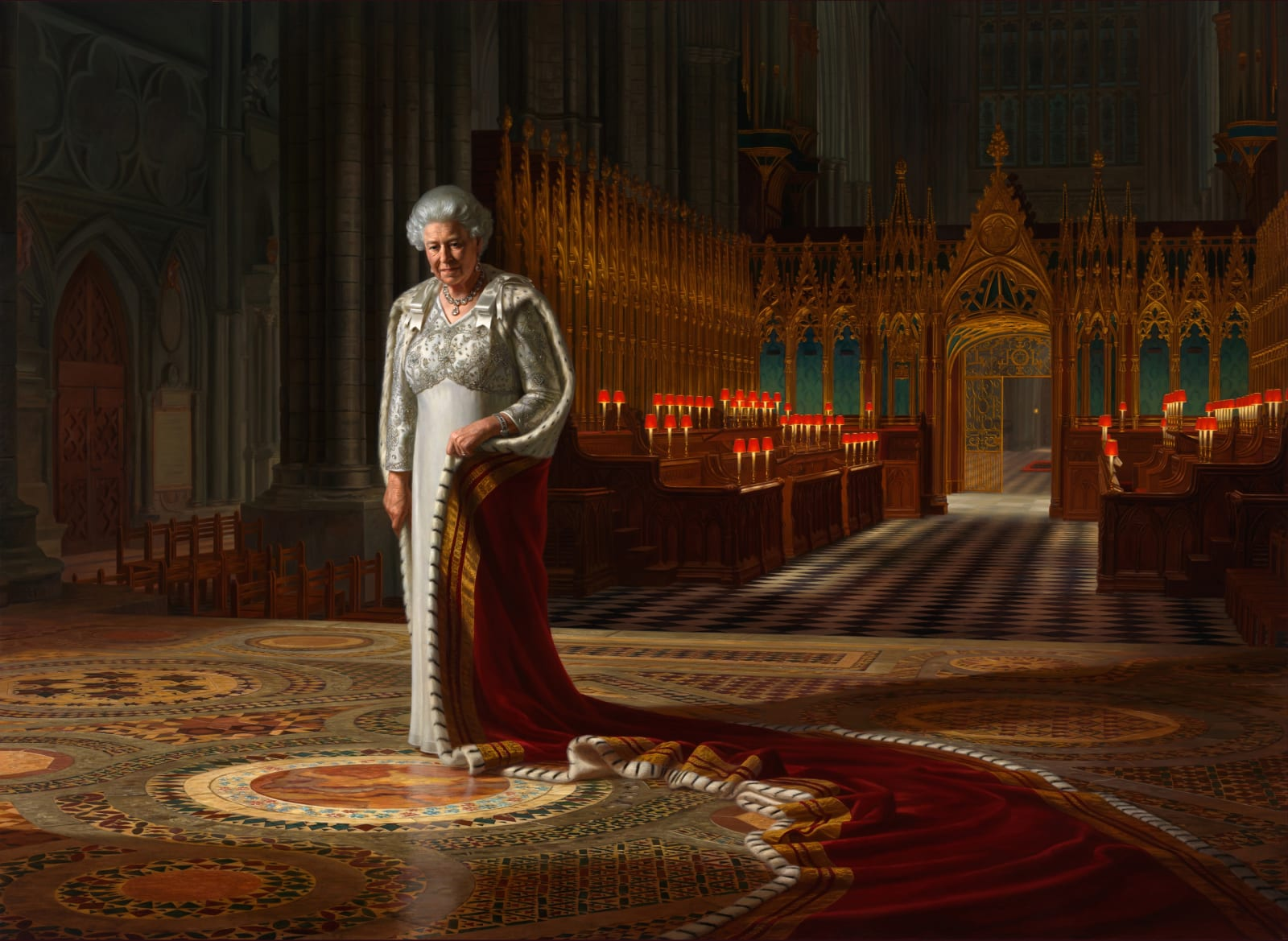 The Coronation Theatre: Her Majesty Queen Elizabeth II 2012 Oil on canvas 250 x 342 cm Westminster Abbey Collection
