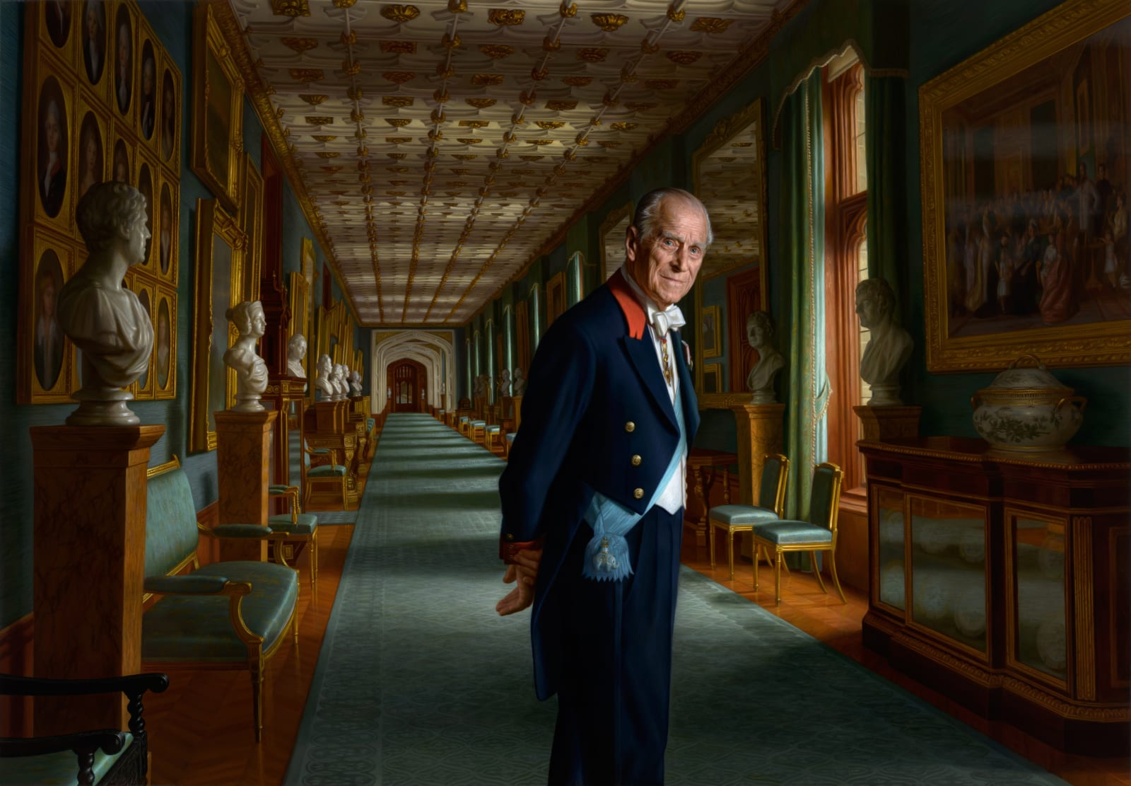 Portrait of HRH The Duke of Edinburgh 2017 Oil on canvas 160 x 230cm The Royal Collection