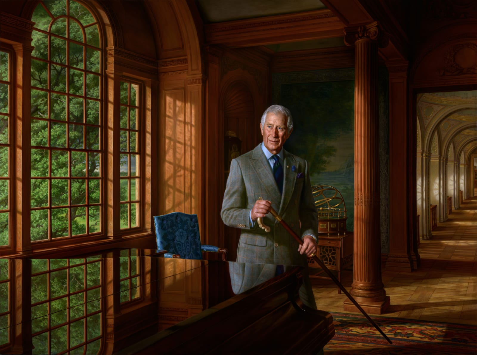 Portrait of HRH The Prince of Wales Oil on canvas 188 x 252 cm Collection of the Prince of Wales