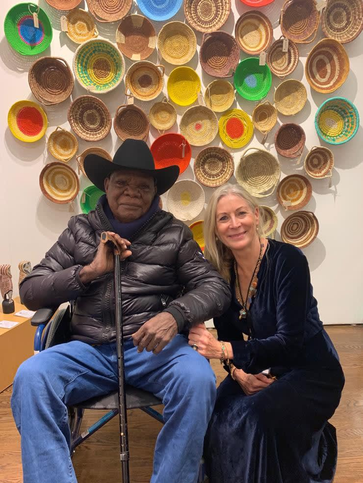 Rebecca Hossack and Aboriginal Fitzroy Crossing artist, Tommy May, at Outsider Art Fair New York 2020